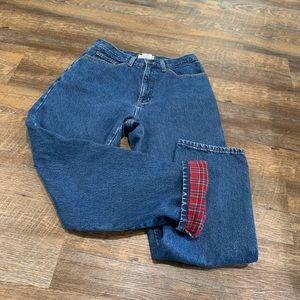 Flannel lined vintage mom jeans